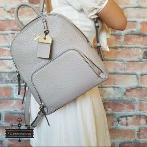Kate Spade Caden Carter soft taupe gray backpack